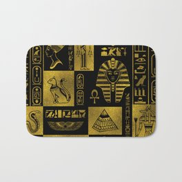Egyptian  Gold hieroglyphs and symbols collage Bath Mat