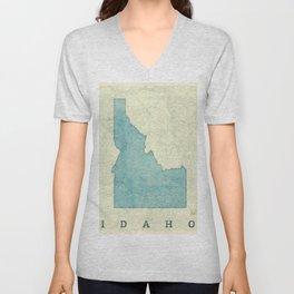 Idaho State Map Blue Vintage Unisex V-Neck