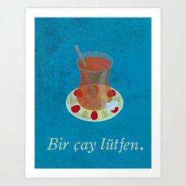 Bir çay lütfen - vintage Turkish tea print Art Print