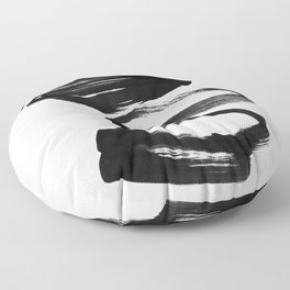 Black and White Abstract Shapes Ink Painting Floor Pillow