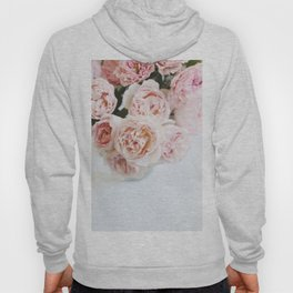 Peach Roses, White Background Hoody