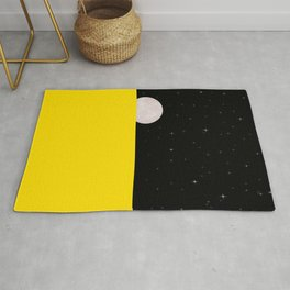 Black night with stars, moon, and yellow sea Rug