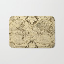 1720 Old World Map Historic Map Antique Style World Map Guillaume de L'Isle mappe monde Wall Map Bath Mat