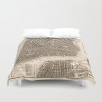 new york map Duvet Covers featuring New York Map by Le petit Archiviste
