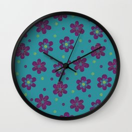 Doodle Button Floral Pattern - Purple Green Teal Wall Clock