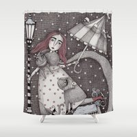 snow Shower Curtains featuring Alice's First Snow by Judith Clay