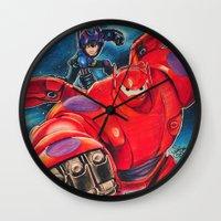 big hero 6 Wall Clocks featuring Big Hero 6 by Salma Emara