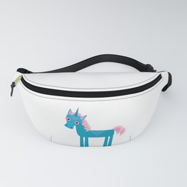 Funny blue unicorn pink mane on a white background Fanny Pack