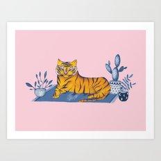 Tiger on rug Art Print