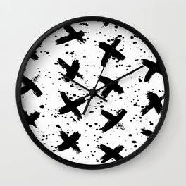 X Paint Spatter Black and White Wall Clock