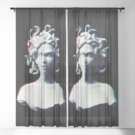 Medusa glitch Sheer Curtain