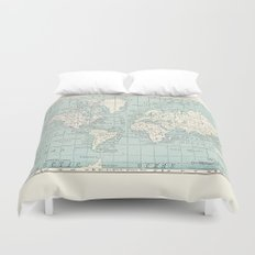 World Map in Blue and Cream Duvet Cover