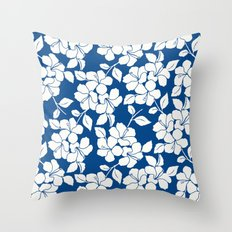 Hibiscus Floral: Marine Blue Throw Pillow