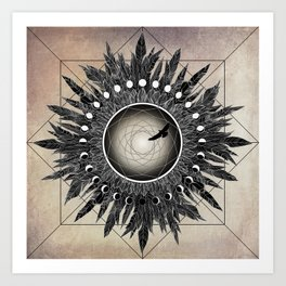 Crow Twilight Dreamcatcher Art Print