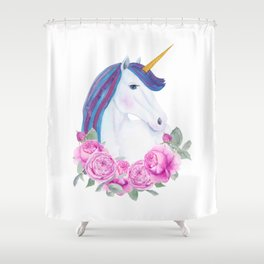White unicorn with pink roses Shower Curtain