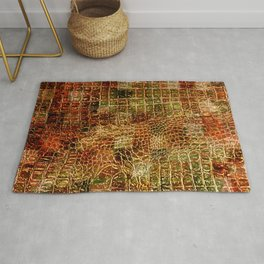 Faux Alligator Animal Skin Leather Red Brown Rug