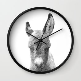 Black and White Baby Donkey Wall Clock