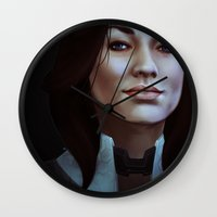 nan lawson Wall Clocks featuring Mass Effect: Miranda Lawson by Ruthie Hammerschlag