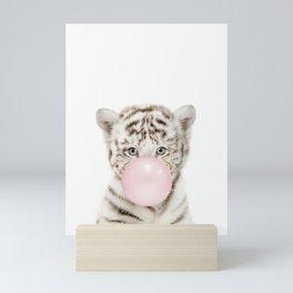 Bubble Gum White Tiger Cub Mini Art Print