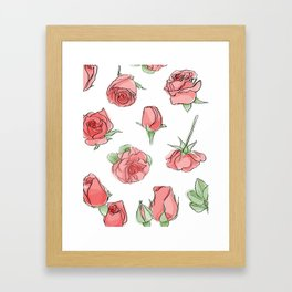 Watercolor Roses Framed Art Print