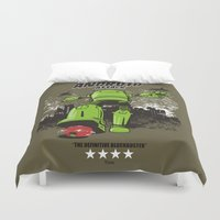 android Duvet Covers featuring ANDROID ATTACK by Adams Pinto