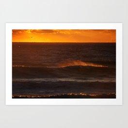 Sunset Orange Wave Spray Beach Ocean Seascape Landscape Colored Wall Art Print Art Print