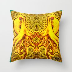 OctoSpeculum #2 - Psychedelic Octopus Fractal Optical Illusion Vibrant Design Throw Pillow