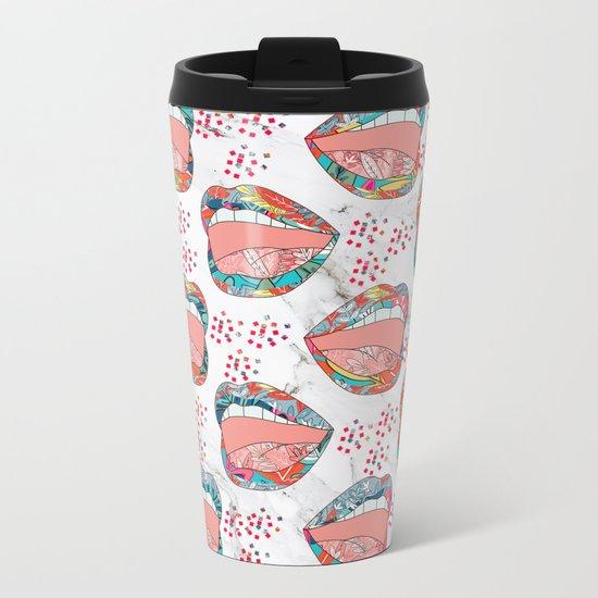 Exotic Floral Lips Metal Travel Mug