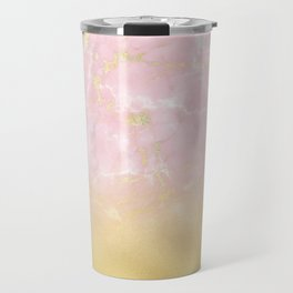 Gold Foil Gradient on Rosegold Marble Travel Mug