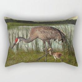 Florida Sandhill Crane and Baby Rectangular Pillow