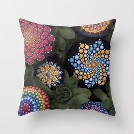 Mandala Stone with Succulent Plants Throw Pillow