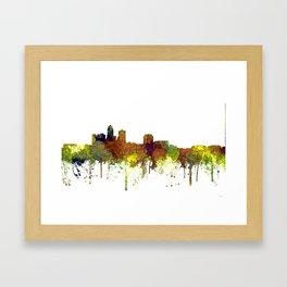 Des Moines, Iowa Skyline SG - Safari Buff Framed Art Print