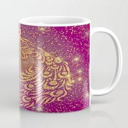 Sparkling Red & Yellow Peacock Coffee Mug