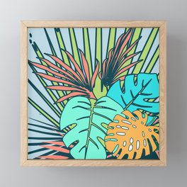 Tropical leaves blue Framed Mini Art Print