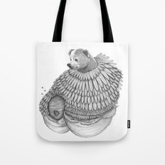 The Bear and the Bees- Feathered Tote Bag