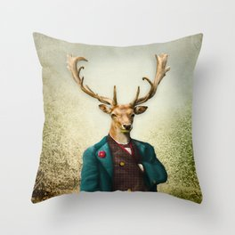 Lord Staghorne in the wood Throw Pillow