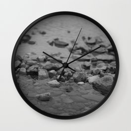 the shallows // river rocks Wall Clock