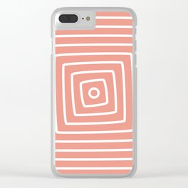 Circle and Square - White Lines Clear iPhone Case