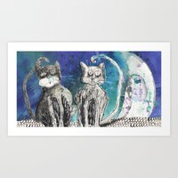 kittens Art Prints featuring kittens by Agata Kowalska