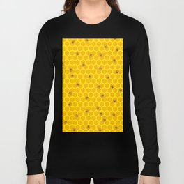 Mind Your Own Beeswax / Bright honeycomb and bee pattern Long Sleeve T-shirt