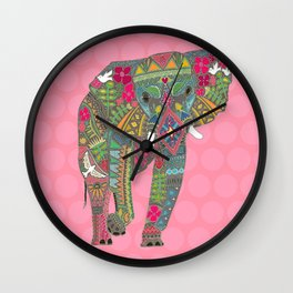 painted elephant pink spot Wall Clock