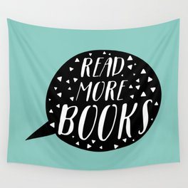 Read More Books (Speech Bubble - Blue) Wall Tapestry