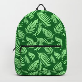 Woodland Fern Pattern, Light Green and  Emerald Backpack