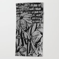 Black and White Palm Flowers by my Mom Beach Towel