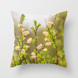 Spring willow branches Throw Pillow