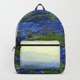Meadow of Wild Blue Irises, Springtime by Maria Oakey Dewing Backpack