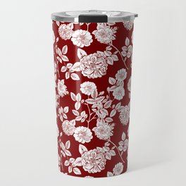 Red and White Vintage Florals Collage Travel Mug
