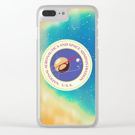 nasa vintage nebula space travel poster Clear iPhone Case