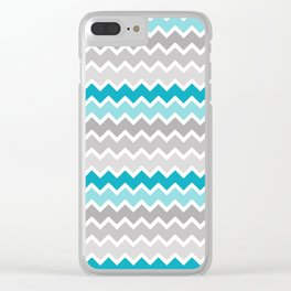 Turquoise Teal Blue Gray Chevron Clear iPhone Case