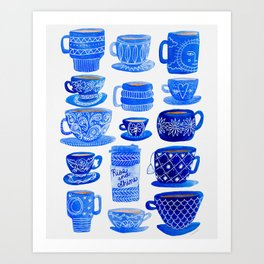 Coffee Mugs and Tea Cups - A study in blues Art Print